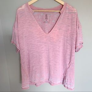Free People We The Free Split Neckline Pink Tee M